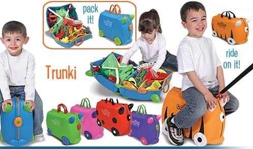 maleta de viaje trunki con ruedas montable para niños