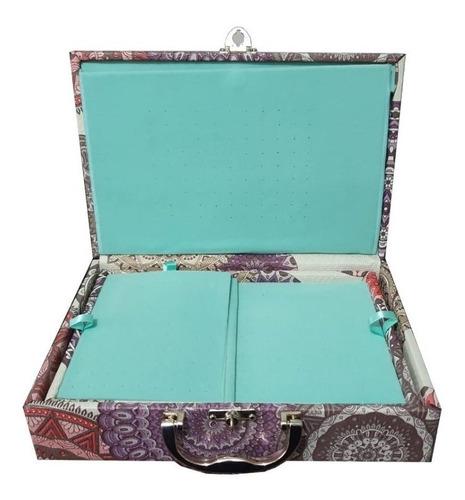maleta estojo porta jóias grande dupla com espelho incluso