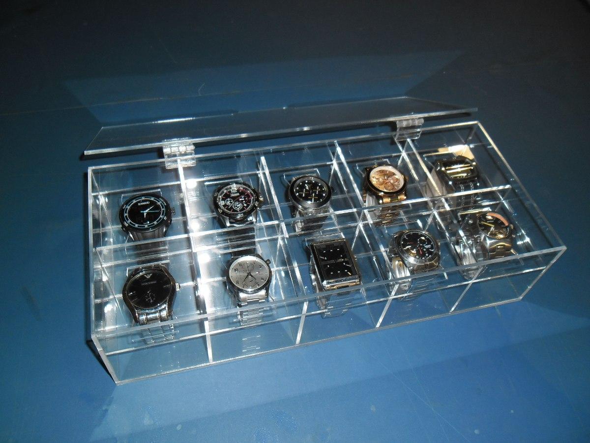 a8c016e1b83 maleta estojo porta relógio acrílico cristal p 10 unidades. Carregando zoom.