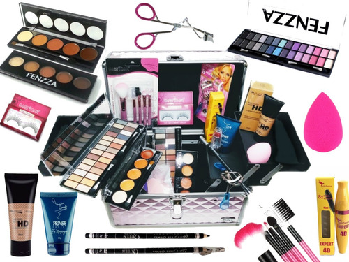 maleta extra grande + kit maquiagem completo - macrilan