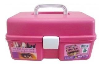 maleta feminina com 2 bandejas para maquiagens e medicamento