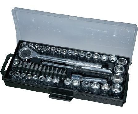maleta ferramentas catraca soquetes com 50 peças 1/4 e 3/8