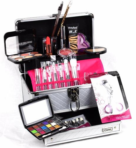 maleta grande kit maquiagem completo profissional ruby rose