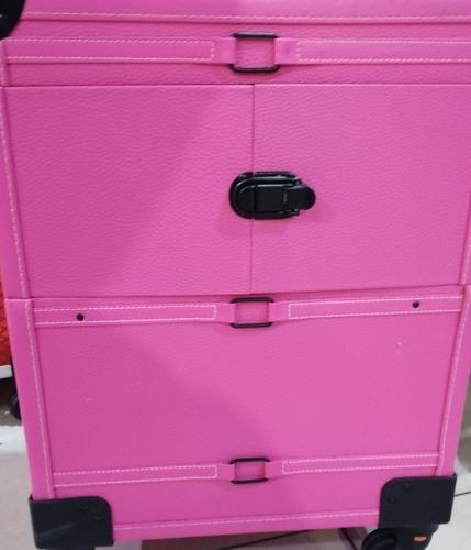 maleta grande para manicure y maquillaje rosada con ruedas