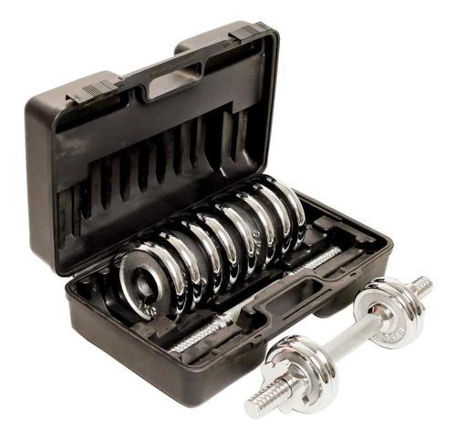 maleta kit de anilhas halteres exercicio em casa musculacao