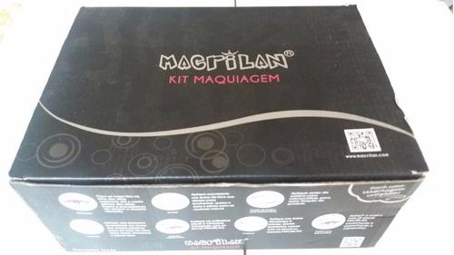 maleta kit maquiagem profissional completa macrilan + brinde