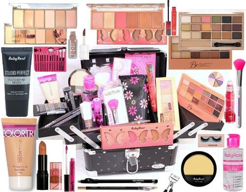 maleta + maquiagem completa profissional ruby rose maquiador