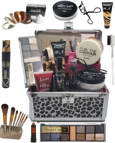 maleta maquiagem completa ruby rose + kit pincéis + brinde