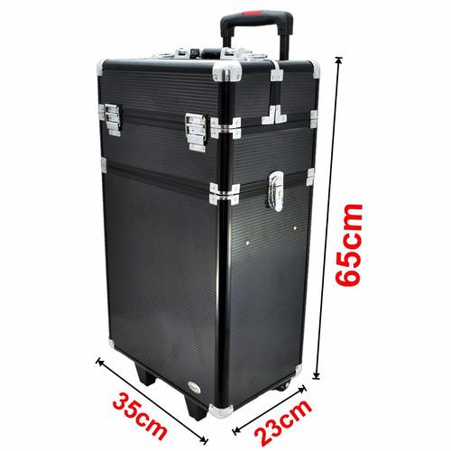 maleta maquiagem cosmeticos c/ rodinha  2 andares preta