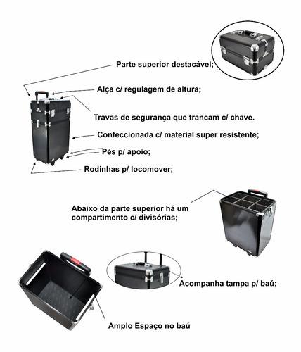 maleta maquiagem e cosmeticos rubys c/ rodinha 2 andares