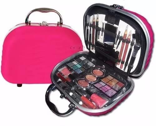 maleta maquiagem fenzza rosa pink varios itens - com nf
