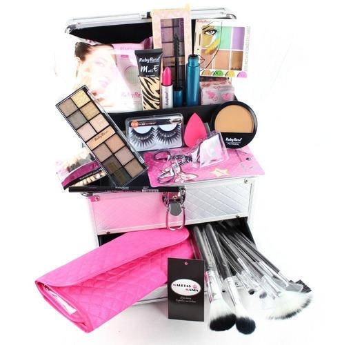 maleta maquiagem grande kit completo profissional ruby rose