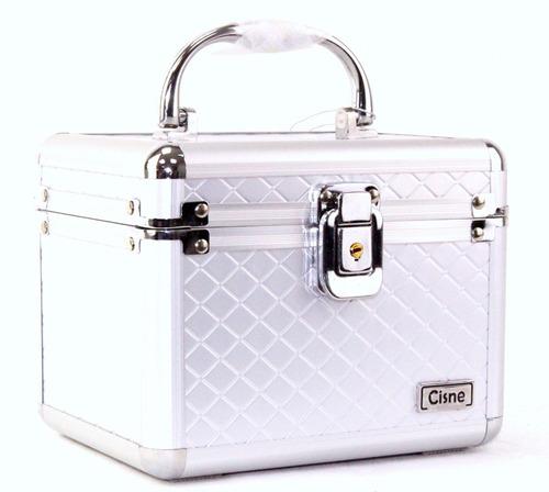 maleta maquiagem porta joias alumínio organizador com chaves
