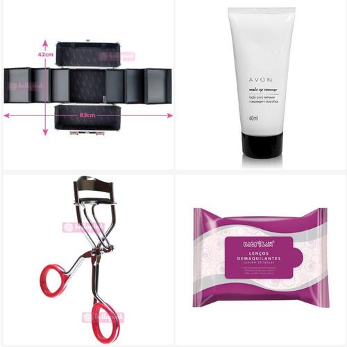 maleta maquiagem profissional completa kit pinceis macrilan