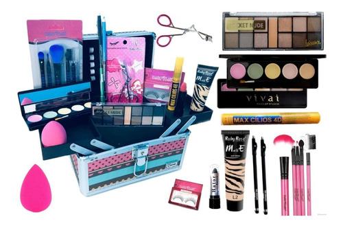 maleta maquiagem  profissional + kit maquiagem basico