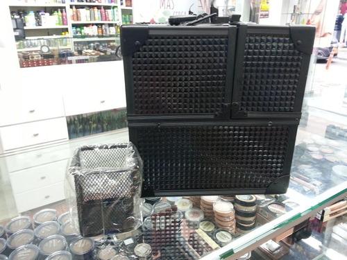 maleta maquillaje profesional negra en aluminio