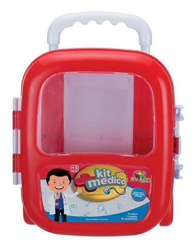 maleta médica infantil com acessório kit médico criança