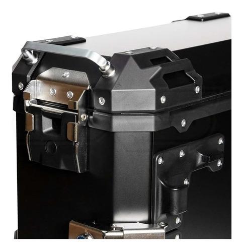 maleta moto laterales rex v39 aluminio black 74 lts.