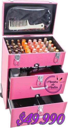maleta organizadora para manicure y esmaltes 4 ruedas