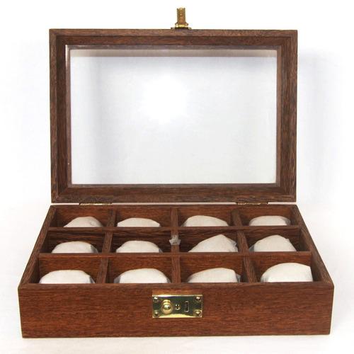 maleta para 12 relógios madeira maciça com expositor vidro