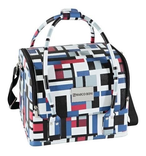maleta para maquiagem elegance com alça e compartimentos internos removíveis - acabamento alto padrão - marco boni