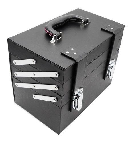 maleta para maquiagem luxo preta 4 andares organizadora de e