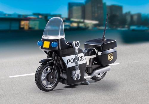 maleta policial com moto c/ 13 peças original playmobil 5648