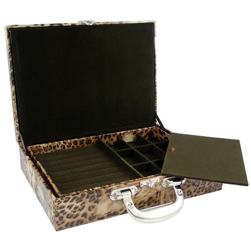 maleta porta joias couro ecológico grande safari marrom