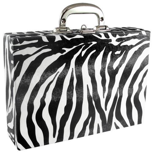 maleta porta joias couro ecológico grande zebra