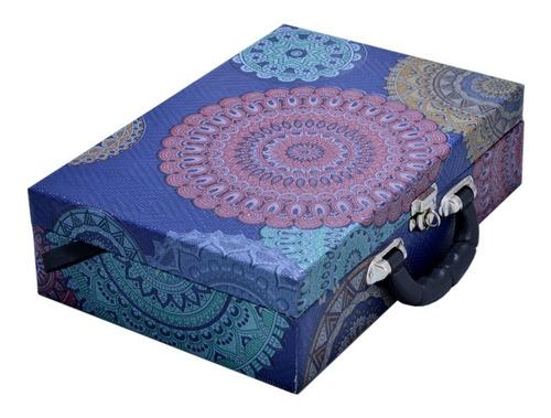 maleta porta jóias grande dupla com espelho - mandala azul
