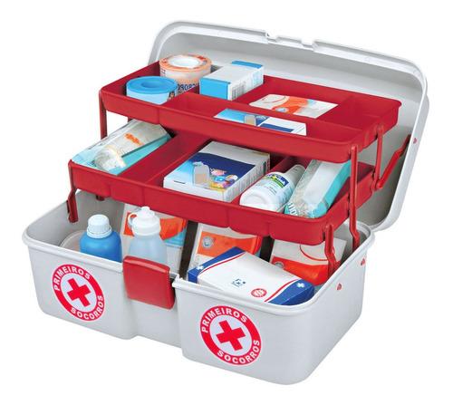 maleta primeiros socorros, medicamentos e maquiagens