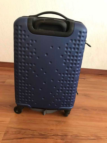 maleta samsonite mediana color azul, doble cierre y ruedas