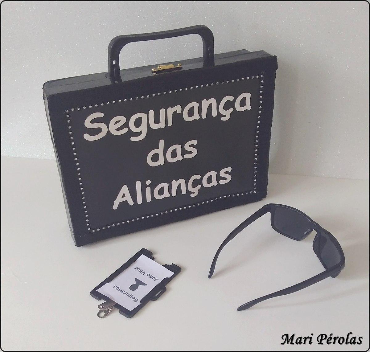 13c1db5829ba4 Maleta Segurança Das Alianças Para Pajens+ Óculos + Crachá - R  71 ...