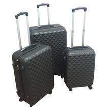 Set De 3 Maletas Diamantadas Color Negro, Abs, Para Viaje
