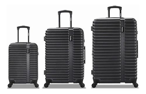 maletas de viaje con 4 ruedas juego de 3 negro
