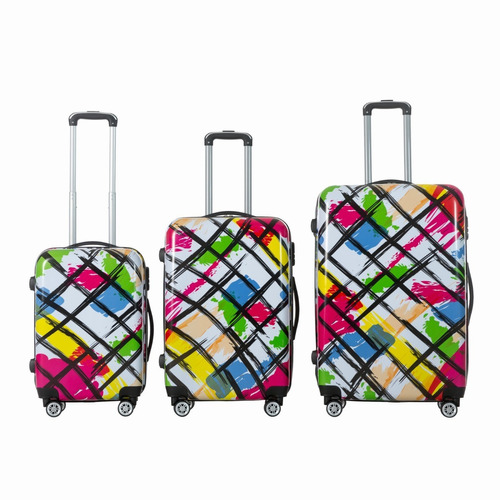 maletas de viaje dura con 8 ruedas juego de 3 paint