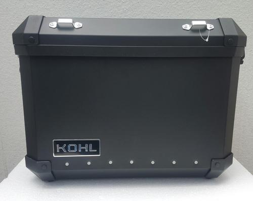 maletas laterales kohl  aluminio negro 36lts+rack rider one