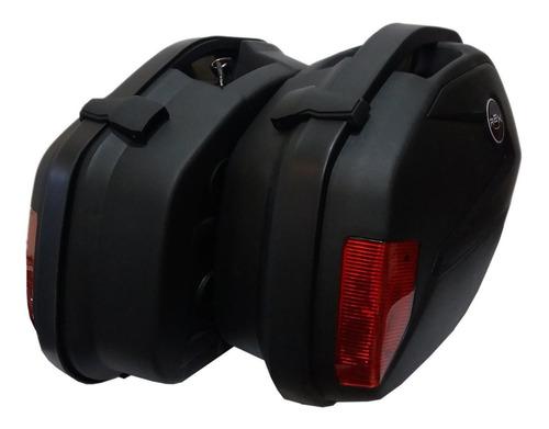 maletas laterales moto rex v35 negra 22 litros