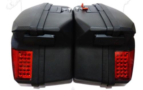maletas laterales moto rex v37 negra 37 litros