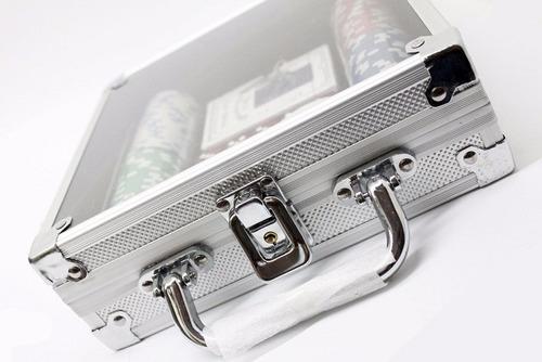 maletin 100 fichas aluminio, tapete, barajas + envio gratis