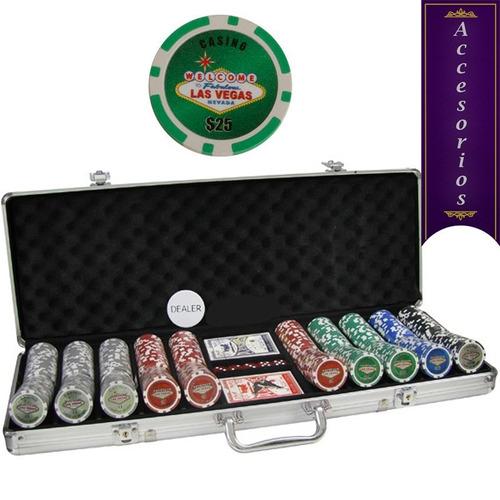 maletin 500 fichas las vegas con denominacion 11.5gr poker