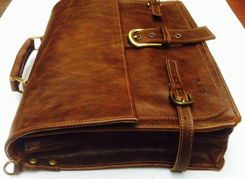 maletín bolso de cuero envejecido cow