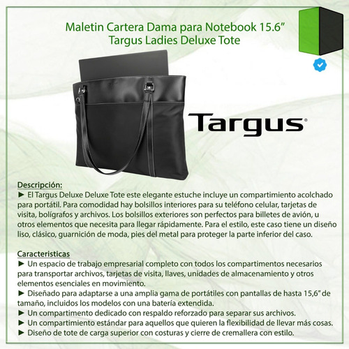 maletin cartera dama notebook 15.6 targus ladies deluxe