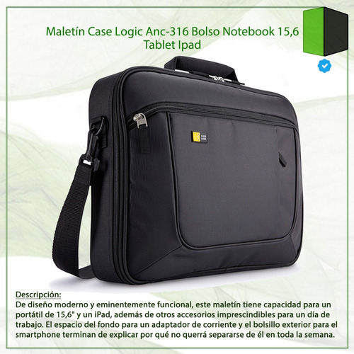 maletín case logic anc-316 bolso notebook 15,6 tablet ipad