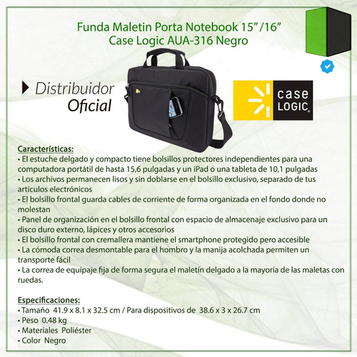 maletin case logic aua-316 porta notebook 15.6 y tablet ipad