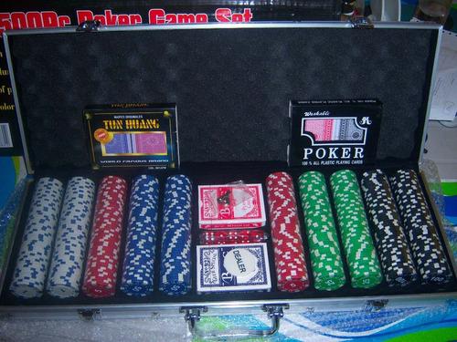 maletin fichas x 500 poker profesional + naipes + dados.
