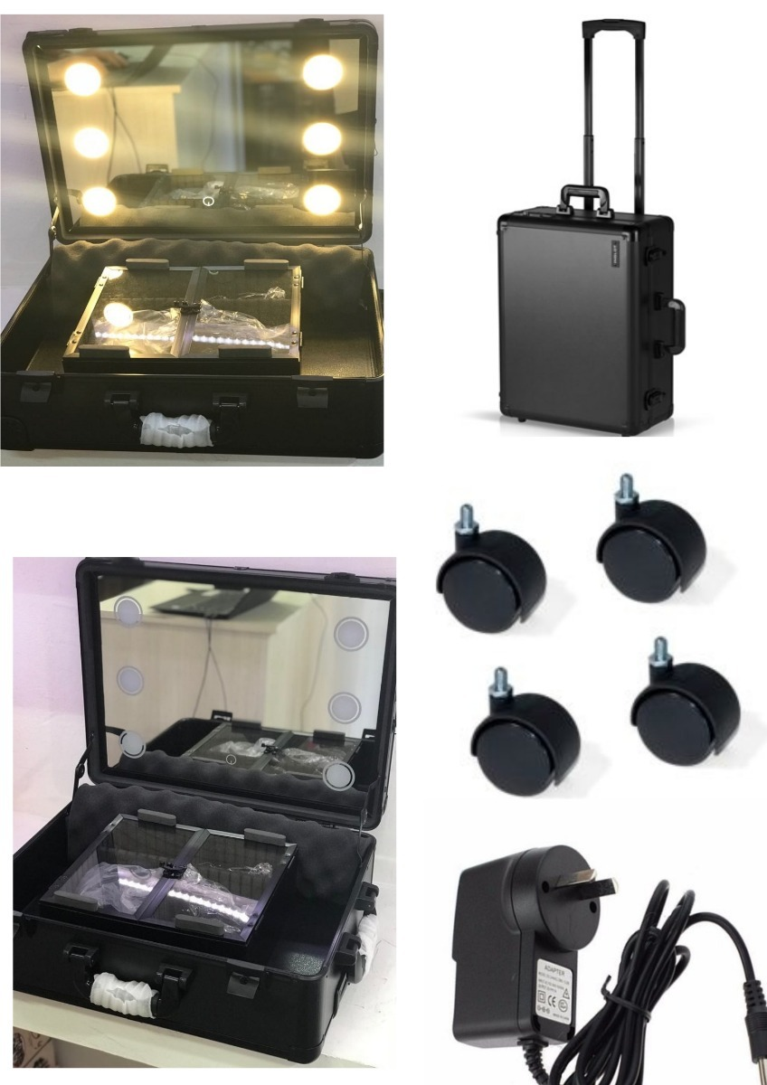 5b6b26ea4 maletin maquillaje con luces led ruedas portatil make up. Cargando zoom.