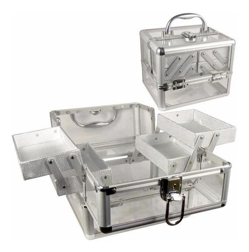 maletín para maquillaje acrílico con 4 bandejas m2028