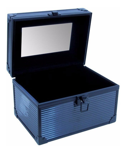maletín para maquillaje negro grande con espejo m1068