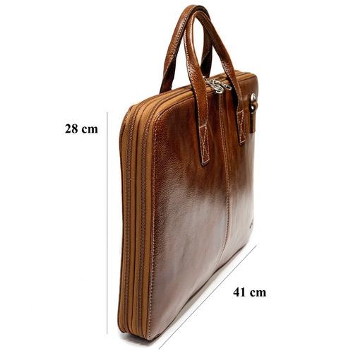 maletin portafolio cuero hombre mujer porta notebook 15.6´ oficio 4 divisiones correa ajustable ejecutivo modelo 1206